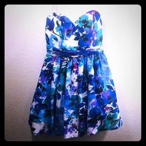 Strapless floral mini dress